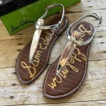 Sam Edelman Gigi Women's Flats Thong Sandals Silver Metallic Leather Size 7.5 M - $38.49