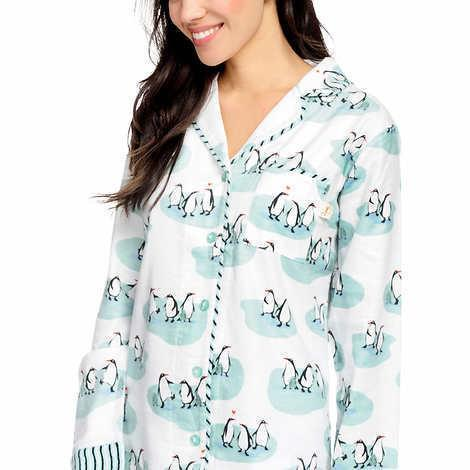Munki Munki Womens Pajamas White Penguins 2-Piece Flannel PJ Set Plus Sizes