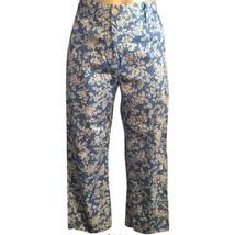 Ralph Lauren blue & ivory floral print cotton capri pants 2P 2 Petite - $19.95