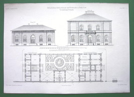 ARCHITECTURAL PRINT - Hungary Budapest Slaughterhouse Admin Bldg Facades... - $9.45