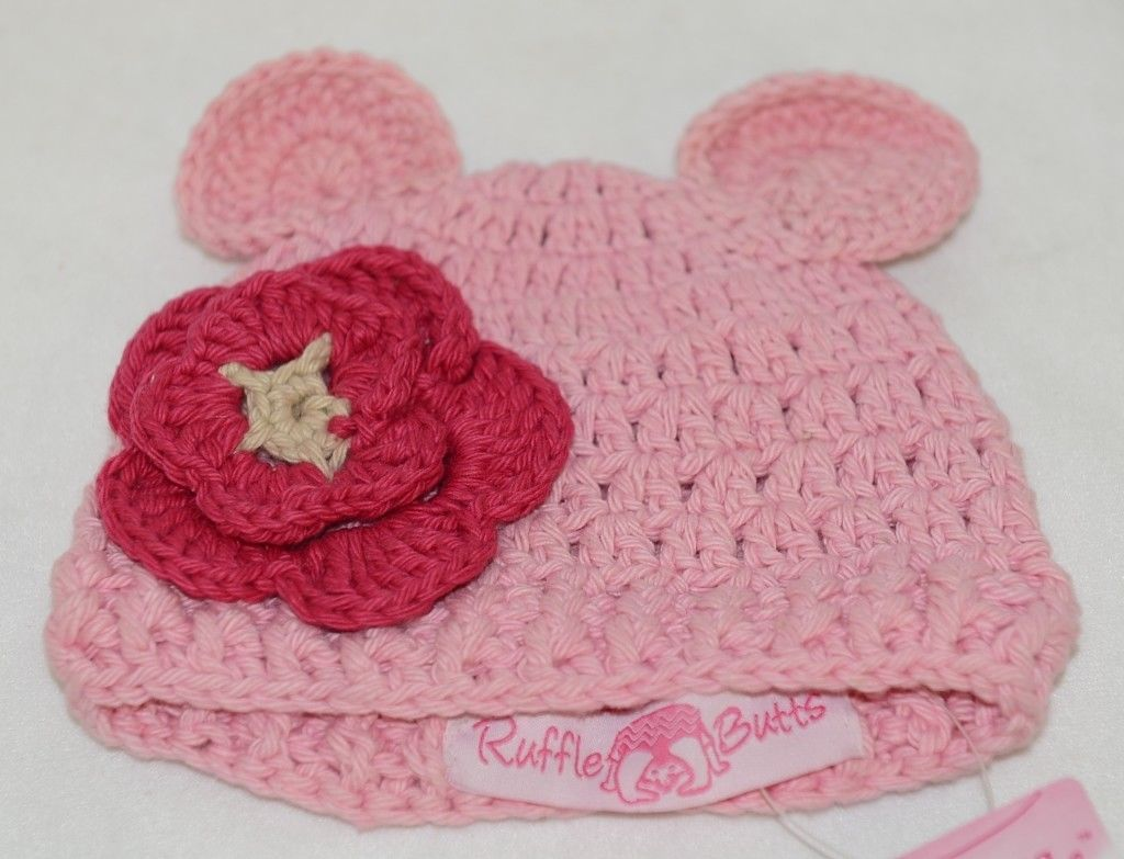 Ruffle Butts Pink Ear Hat With Flower Cotton 0 To 6 Months