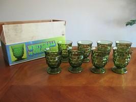 Lot 8 Whitehall Colony Cubist Avocado Green Olive Glass Tumbler Juice Set 10 oz - $79.99