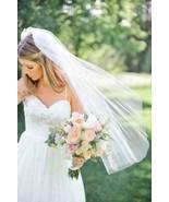 1T Wedding White Bridal Veil+comb elbow Length cut Edge 90cm Net Party - $5.95