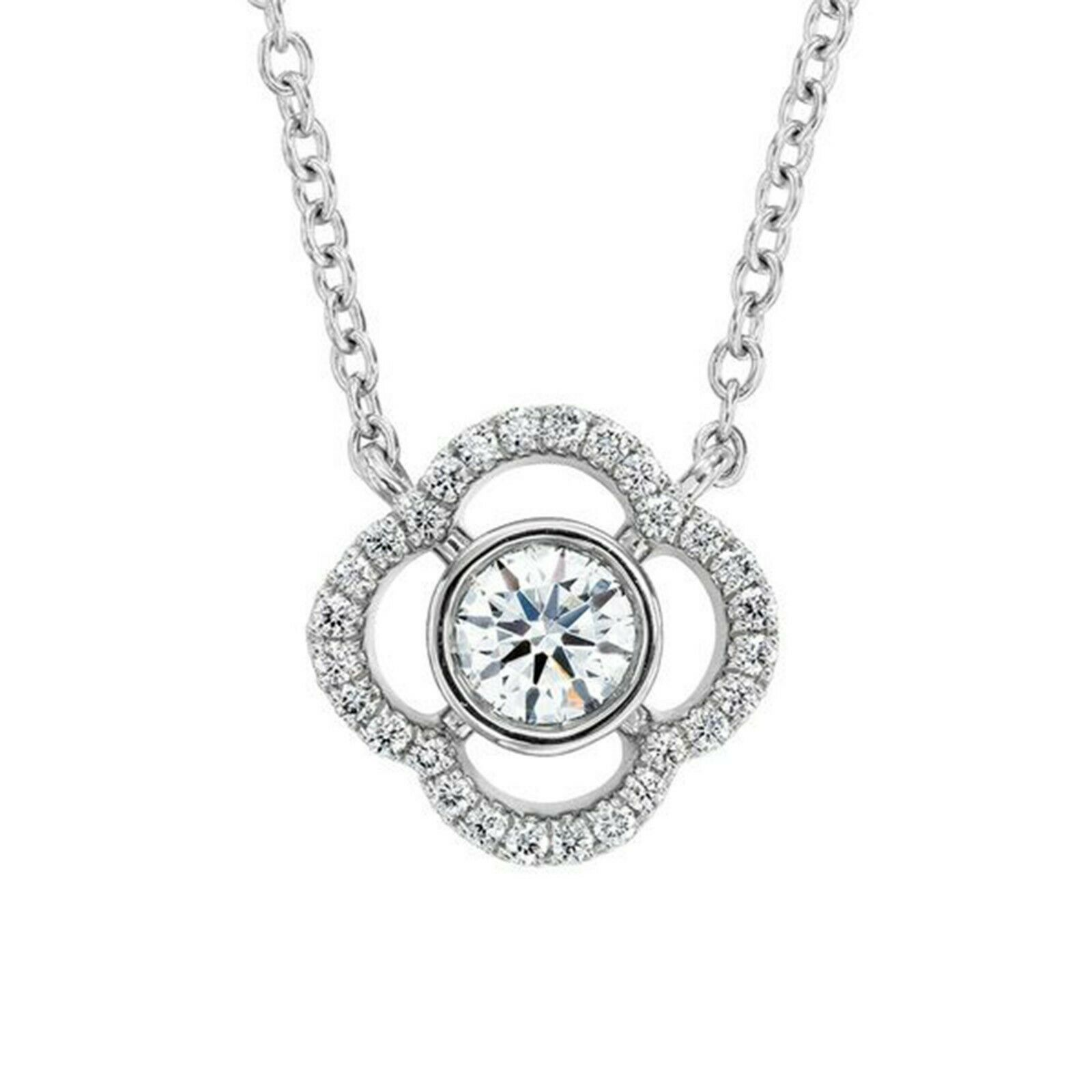 Primary image for 14K White Gold Finish Round D/VVS1 Diamond Exquisite Four Leaf Clover Necklace