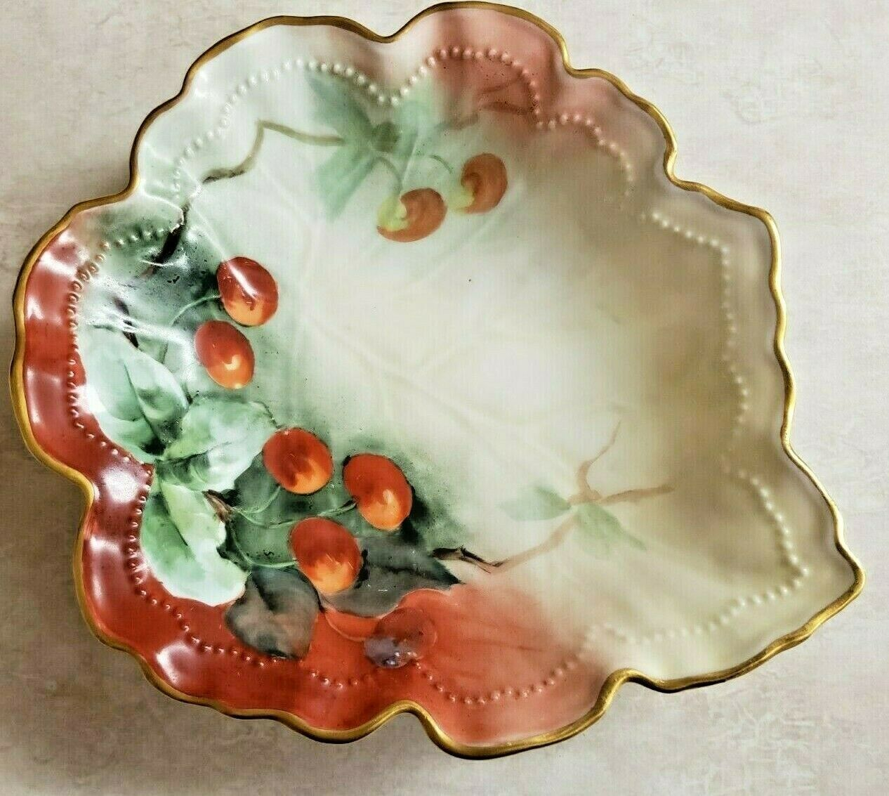 Primary image for La Croix Porcelain Hand Painted Leaf Dish With Gold Trim & Cherries.