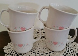 Vintage Corelle By Corning ~ Forever Yours ~ Pink Hearts ~ Set of 4 Coffee Mugs - $23.76