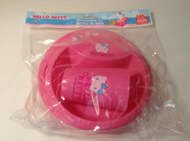 New Zak Hello Kitty Dinner 3 pc set Plate Bowl Cup Pink Plastic BPA Free - $12.19