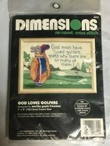 Dimensions 1993 No Count Cross Stitch Kit  God Loves Golfers 5x7 - $14.50