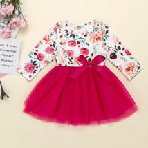 NWT Girls Floral Long Sleeve Pink Tutu Dress 3T 4T 5T - $12.99