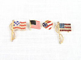 Set of 4 USA American Flag Brooch Pins Patriotic Red White & Blue Lapel Tac Pins - $7.95