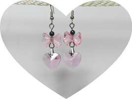 Faceted Glass Pink Heart with Lucite Bow Dangle Earrings HC - $10.89