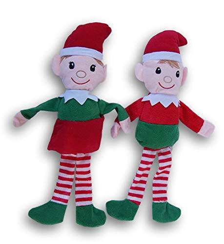Primary image for Holiday Christmas Boy Girl Elf Plush Doll Bundle - 14 Inches Tall