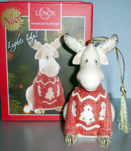 Lenox Christmas Sweater Moose Lighted Ornament New in Box - $38.90