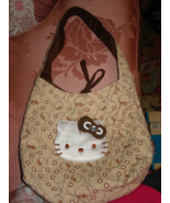 SANRIO HELLO KITTY TAN BEIGE FABRIC CORDUROY COTTON HANDBAG PURSE 2008 - $9.99