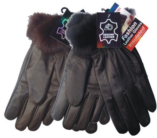 Case of [72] Women's Leather Gloves - Fur Trim
