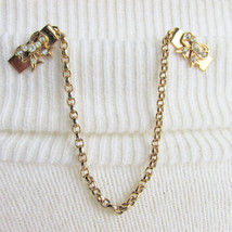 Vintage Cute Rhinestone Bows Sweater Guard  Clips Gold Plated Rolo Chain... - $12.15