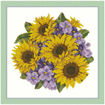Pansies and Sunflowers Cross Stitch / Needlepoint Pattern - $6.95