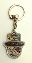 Judaica Keyring Keychain Key Charm Holder Hamsa Metal Epoxy Brown Jerusalem View image 4