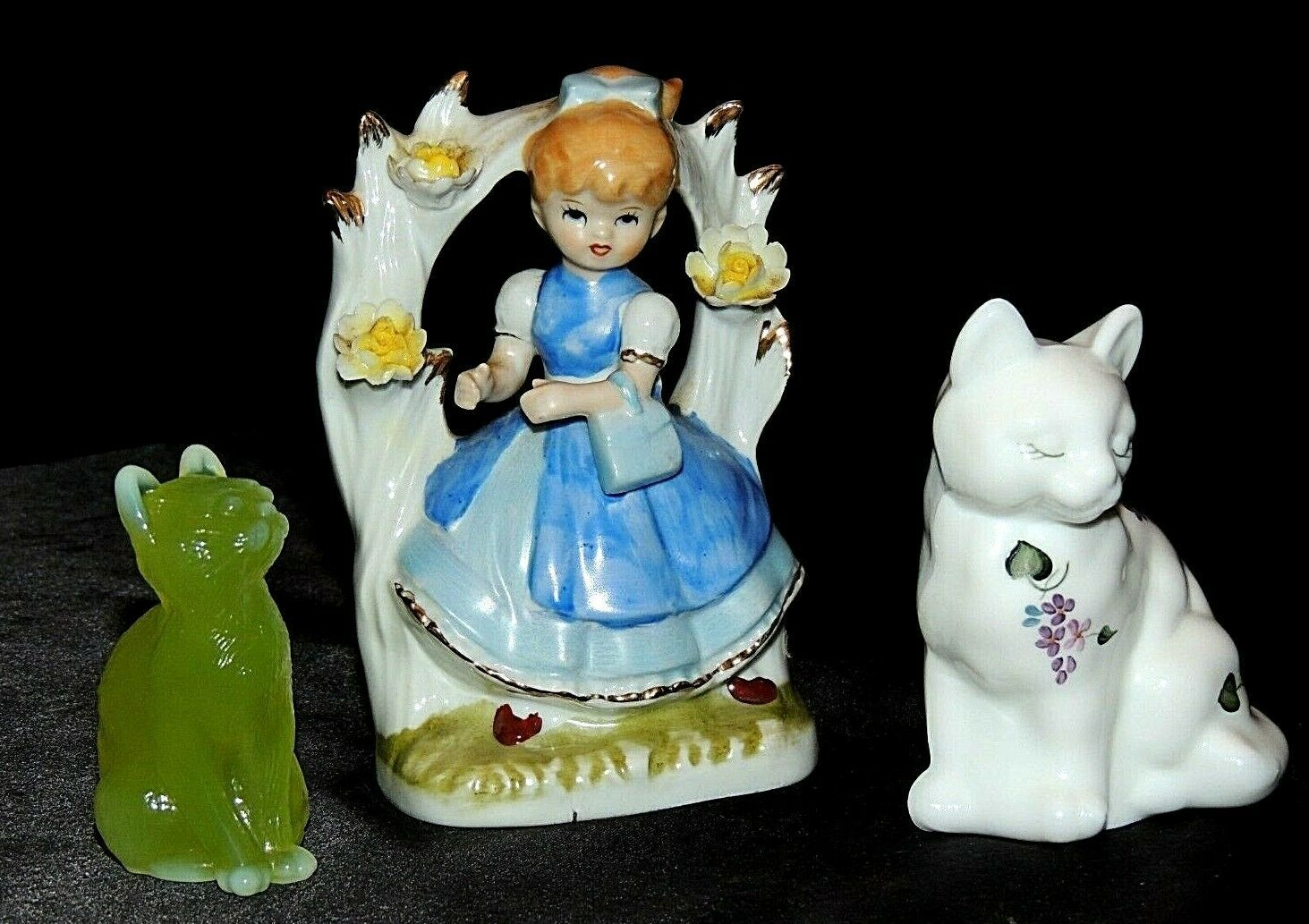 Primary image for White Saton Fenton Cat and Girl Figurine AA20-7527 Vintage