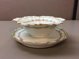 Gda France Ch Field Haviland Limoges Gravy Bowl Floral Gilt Edging - $39.59