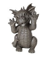 Garden Dragon Taunting Dragon Garden Display Decorative Sculpture Stone ... - $39.59