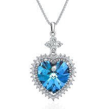 "Valentine Day Gifts ""Heart of The Ocean"" Pendant Necklace, Made with Blu... - $69.95"