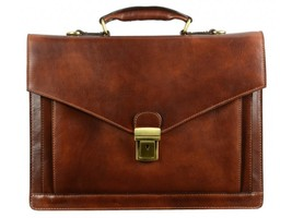 DARK BROWN LEATHER BRIEFCASE - THE MAGUS - $237.00