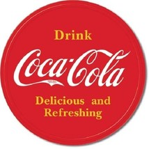 Coca Cola Coke Button Logo Advertising Vintage Retro Style Metal Tin Sig... - $14.99