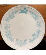 Easter Bunny 4 Stoneware Dinner Plates Blue Rabbit Flowers by Threshold - $29.69