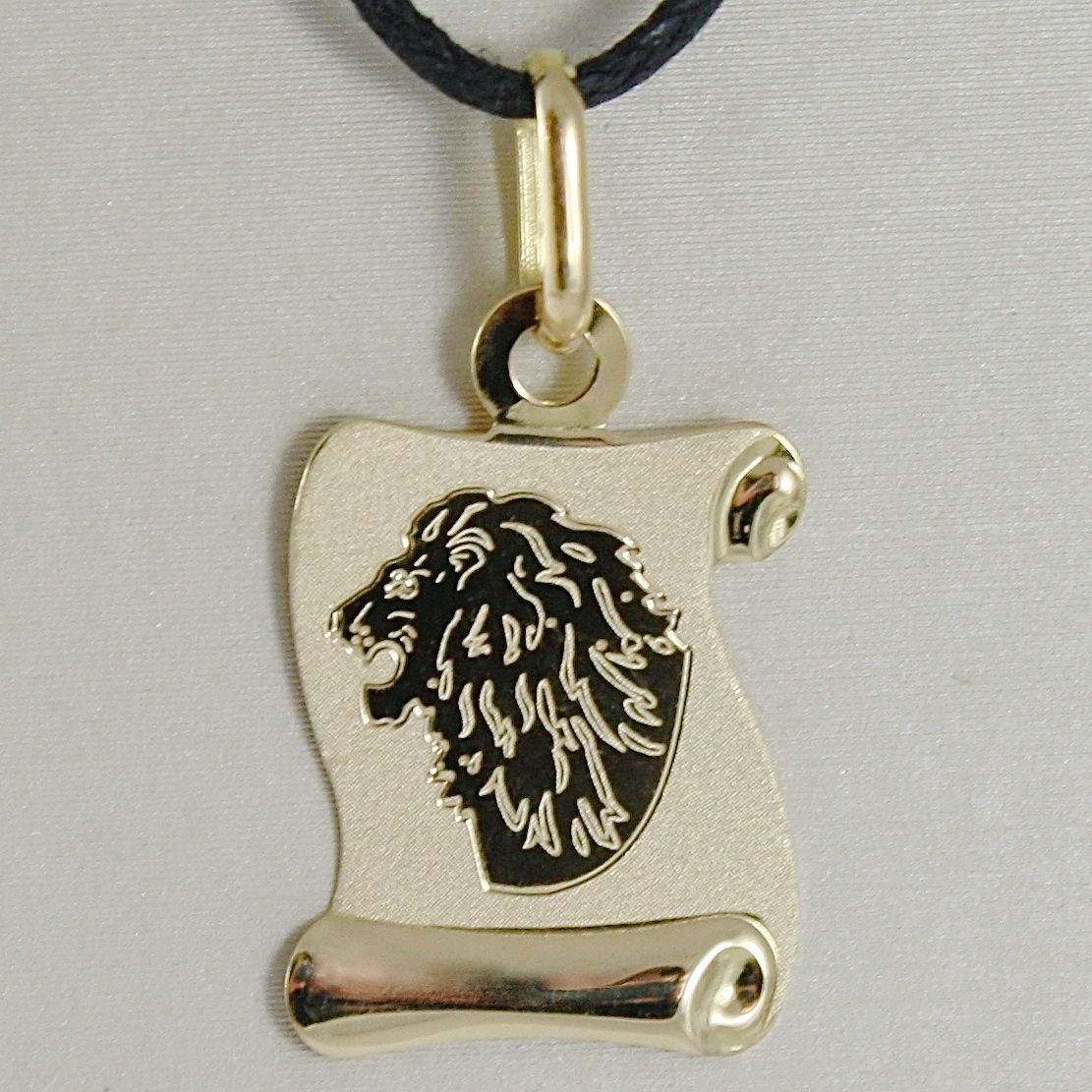 18K YELLOW GOLD ZODIAC SIGN MEDAL, LEO, LION PARCHMENT ENGRAVABLE MADE IN ITALY