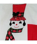 Christmas Door Hanging Panel Cut Sew Fabric Snowman Vintage Wamsutta Red... - $31.99