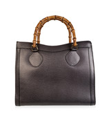 Authentic Gucci Vintage Gray Leather Princess Diana Bamboo Tote Bag - $514.80
