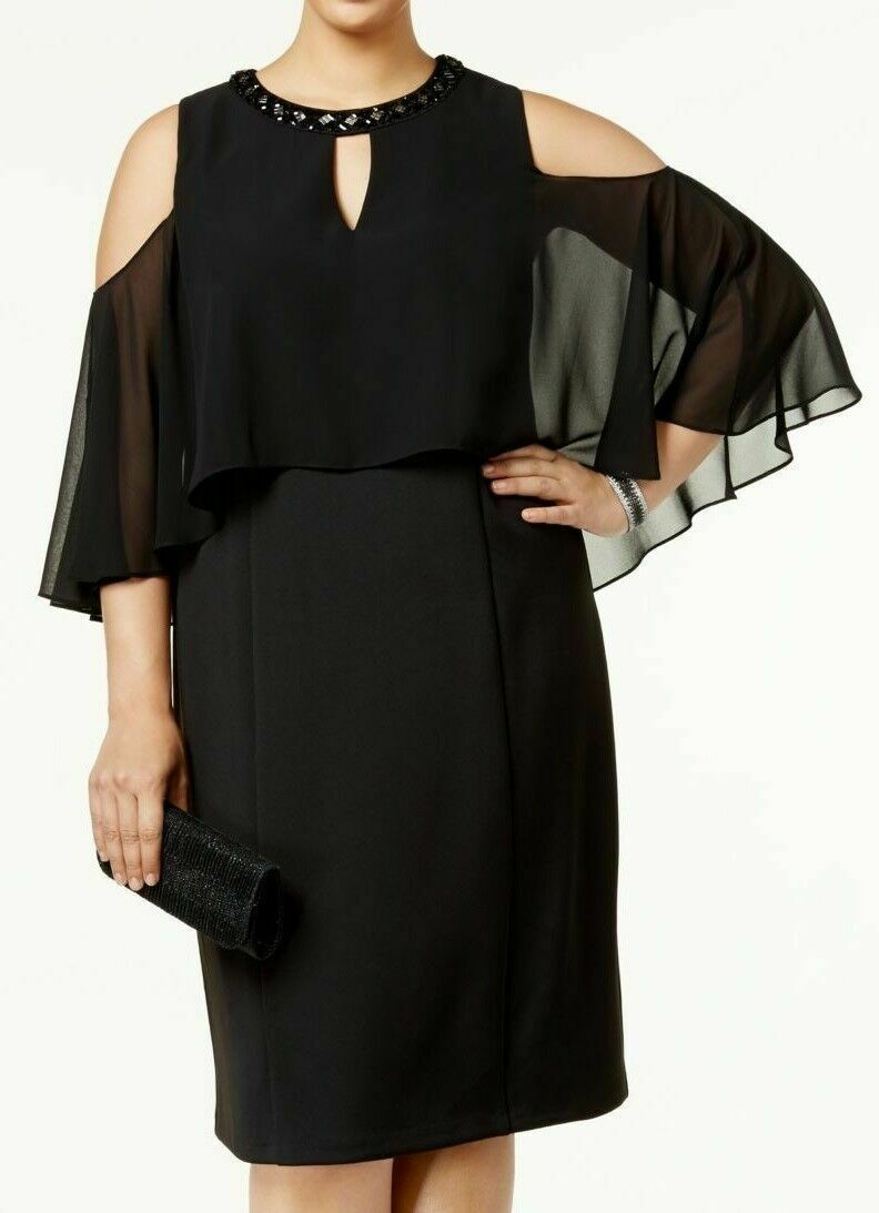 Primary image for new SLNY New York Plus Size Beaded Cocktail-Evening Cape Dress 16W Black nwt