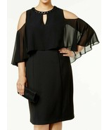 new SLNY New York Plus Size Beaded Cocktail-Evening Cape Dress 16W Black... - $46.06
