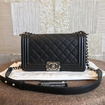 AUTHENTIC CHANEL LE BOY BLACK QUILTED CALFSKIN MEDIUM FLAP BAG RHW