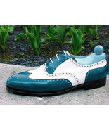 Wing Tip Brogues Toe Men White Green Two Tone Leather Oxford Lace Up Shoes - $139.99+