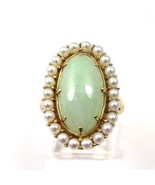 14k Yellow Gold Vintage Women's Cocktail Ring With Pearls & Jade Stone - $373.07