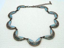 MATISSE RENOIR Unsigned RARE SEINE Design Copper Blue Enamel Necklace - $89.09