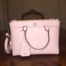 NWT Tory Burch Robinson Small Double Zip Tote Pale Apricot /Gold - $280.14