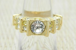 Clear Rhinestone Encrusted Gold Tone Vintage Ring Size 5.5 - $24.74