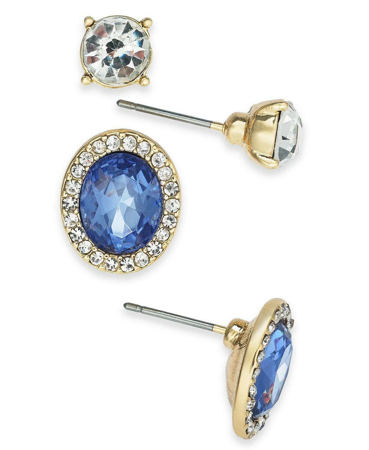 Charter Club Stud Button Earrings Gold-tone Tanzanite Color Clear Crystals Halo - $9.79