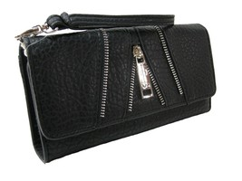 Jessica Simpson Logo Wallet Purse Hand Bag Black Zipper Accents Silver Astor NWT - $44.54