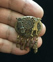 GOLF/GOLFING Dangling Charms BROOCH Pin in Brass and mixed metals - 2 in... - £25.46 GBP
