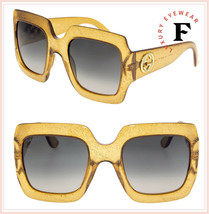a80c391edd3 GUCCI GG0053S Translucent Peach Gold Glitter Oversized Sunglasses 3826 0053  -  284.13