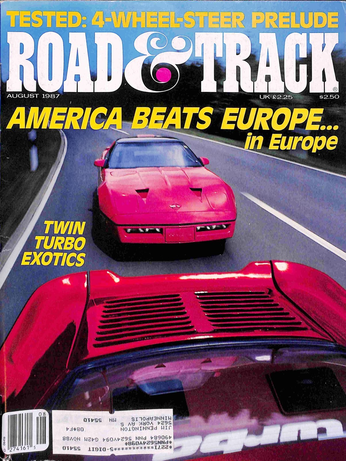 Road and Track, August 1987 - Magazine Back Issues