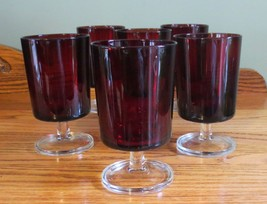 "6 Arcoroc Luminarc France Ruby Red 10 oz 5-1/4"" Footed Water Wine Goblet... - $25.99"