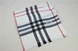 BURBERRY Scarf Wool Cashmere White 180cm - 70cm - $99.00