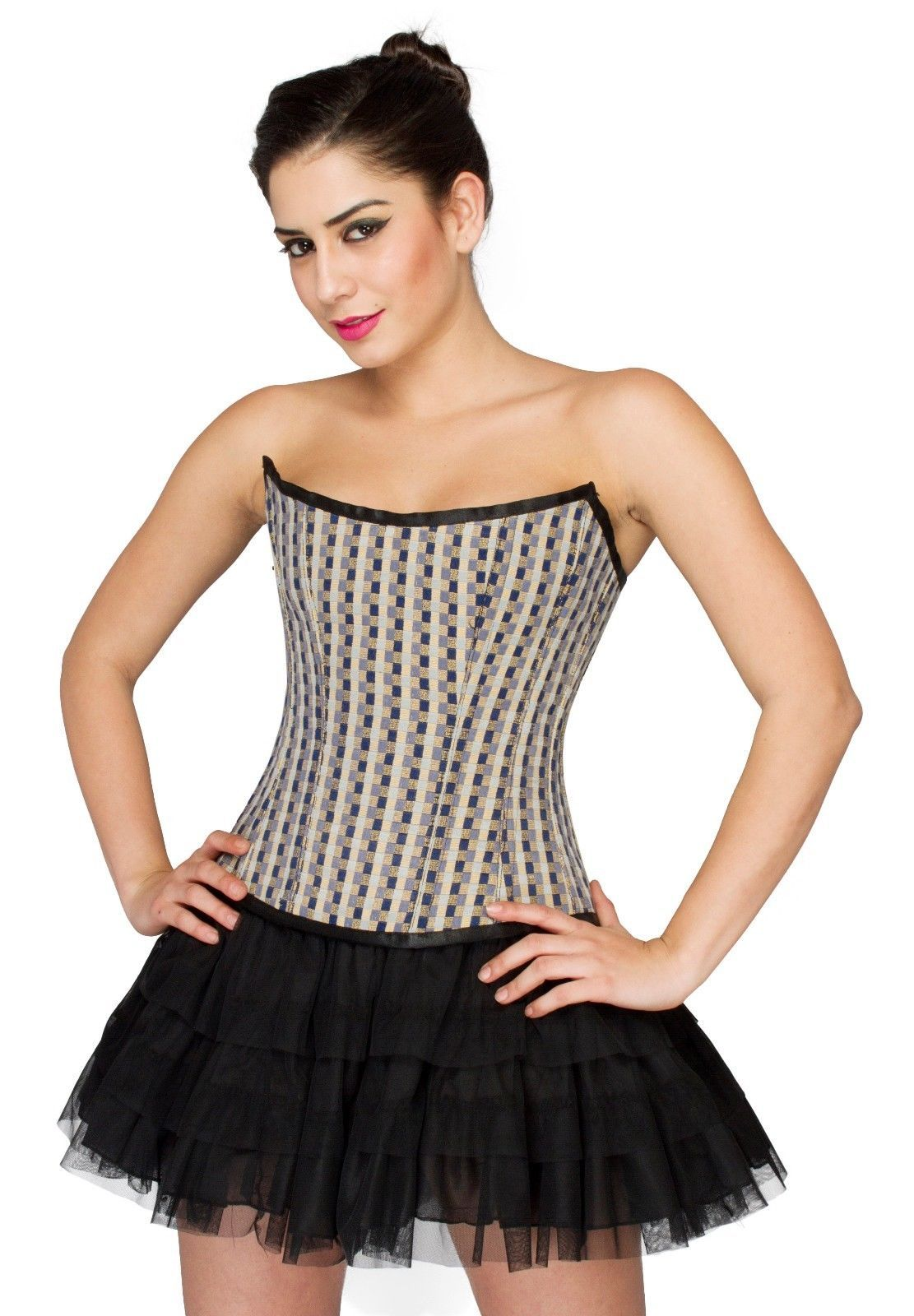 Black White Check Polyester Overbust Top &Tutu Skirt PLUS SIZE Corset Prom Dress