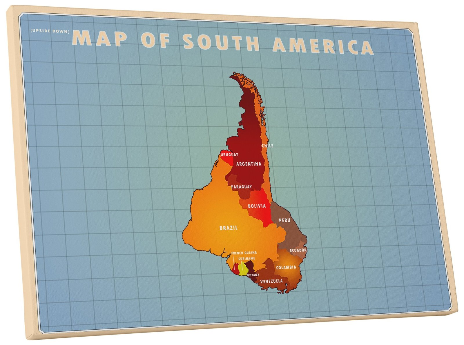"""Pingo World 0126Q9FCF0Y """"Map of South America Upside Down"""" Gallery Wrapped Canva - $53.41"""