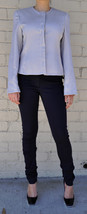 Giorgio Armani Black Label Raise Stripe Silver Grey Jacket Womens 38 Italy - $188.06